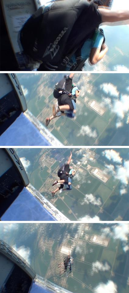 This four-panel image shows stills from a video of me falling out of an airplane. Can you even imagine or believe?!